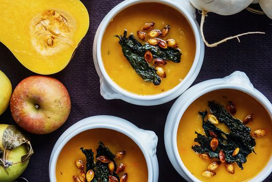 Butternut Squash Soup with Crispy Kale and Chili-Spiced Seeds