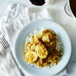 Caramelized Onion, Coconut, and Egg Curry