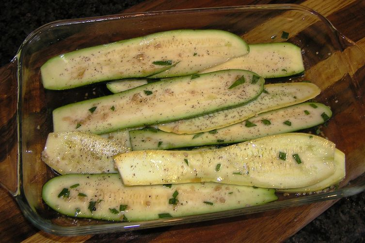 Marinated Grilled Zucchini and Squash with Parmesan