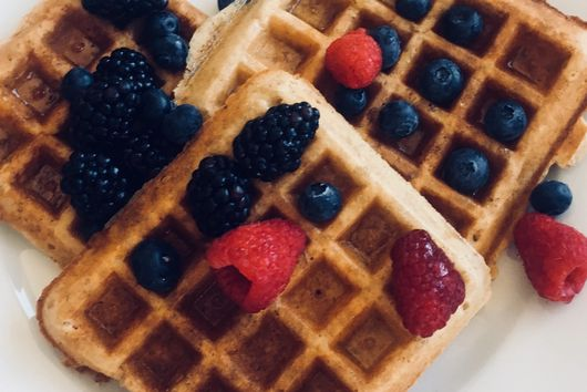 GF Oat-Almond Waffles (Yeasted Overnight)