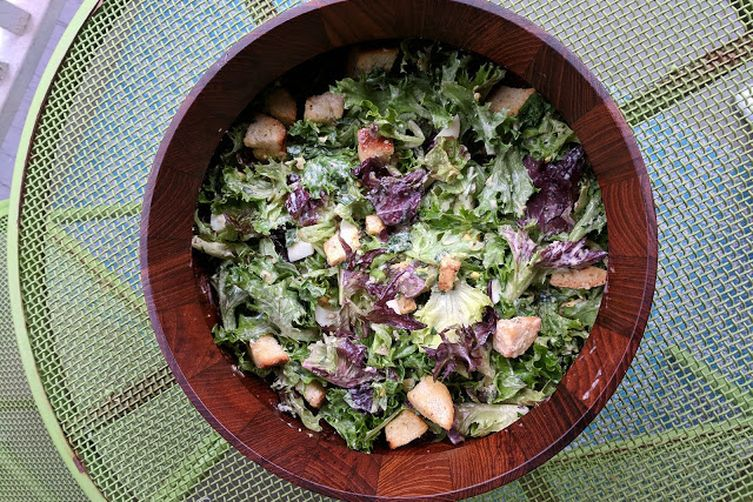 "Caesar-ish Salad with Celery Root ""Croutons"""