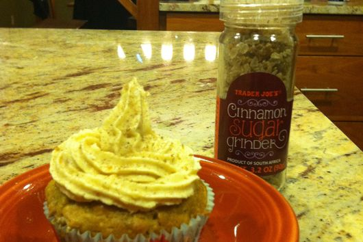 Banana Caramel Cupcakes with Chai Vanilla Cream Cheese Icing