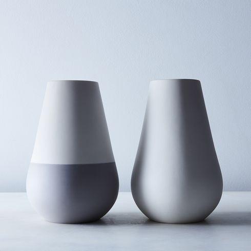 White Gray Ceramic Vase Vase Tabletop Hawkins New York