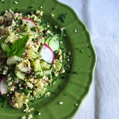 "cauliflower ""couscous"" with mint & radish"