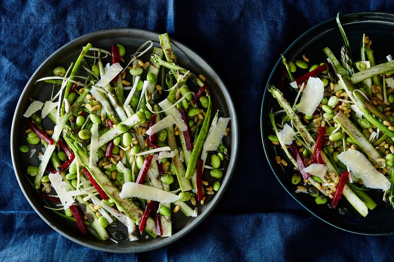 Shaved Asparagus and Kamut Grain Salad with Black Sesame Dressing