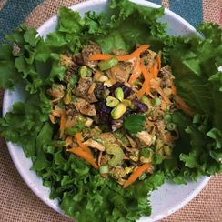 Indian-Spiced Chicken Salad with Dates and Pistachios