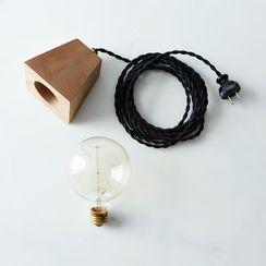 Wood Block & Edison Bulb Lamp