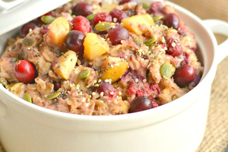 Cranberry Apple Crockpot Oatmeal