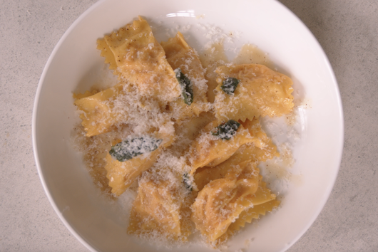 Pumpkin Filled Agnolotti Pasta with Butter and Sage Sauce from Mateo Zielonka