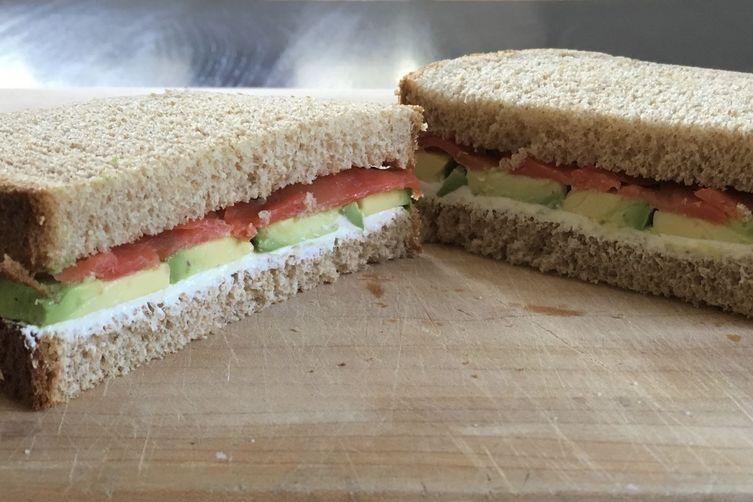 Smoked Salmon, Avocado, and Cream Cheese Sandwich