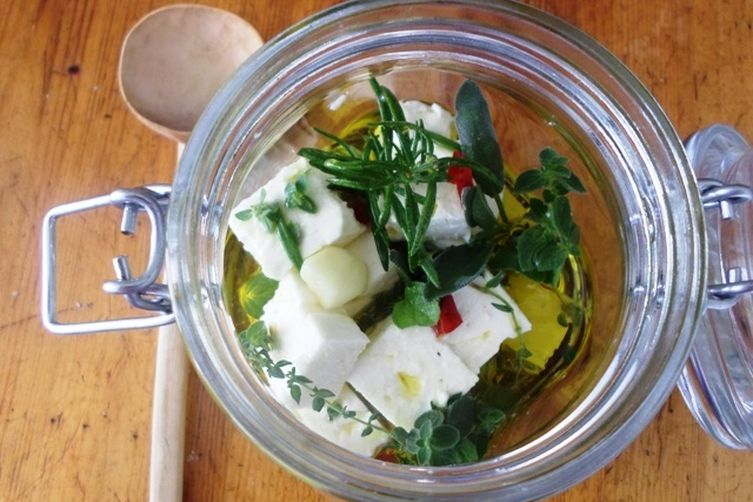 Feta Cheese marinated with Fresh Herbs, Hot Chili Pepper, Garlic and Olive Oil