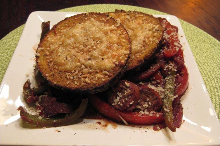 Crispy Eggplant with Pepper and Sausage Ragu