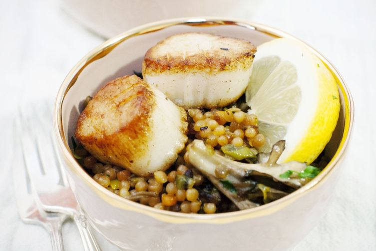 Pearled Couscous with Seared Scallops and Melted Leeks
