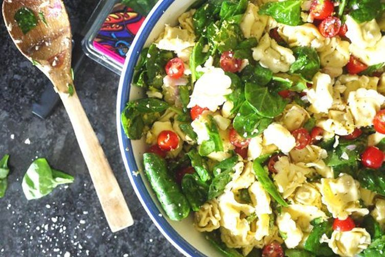 Greek Tortellini Salad with a Red Wine-Anchovy Vinaigrette