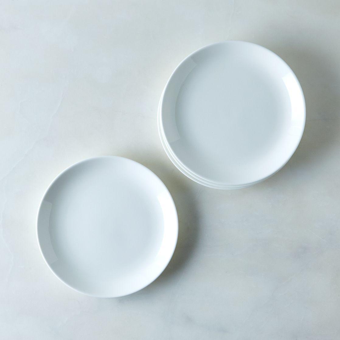 purio white salad plates (set of )  porcelain salad plates  - purio white salad plates (set of )