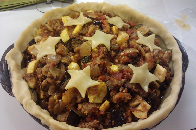 Rustic Ratatouille and Sausage Baked in A Stilton Crust