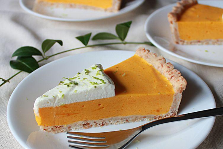 Mango lime cream tart with coconut tart