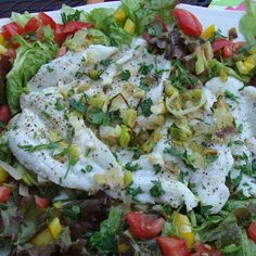 Sole on Leeks with Salad