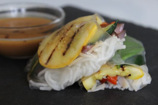 Grilled Vegetable Summer Rolls with an Asian Dipping Sauce