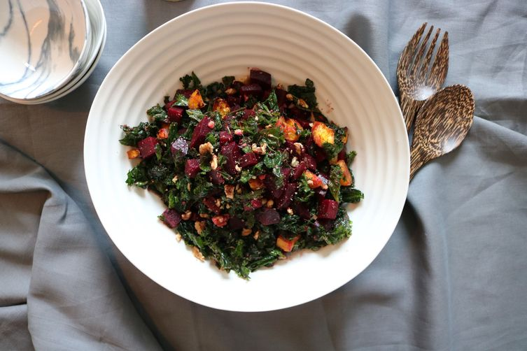 KALE, BEET & SQUASH SALAD WITH WALNUT PESTO DRESSING