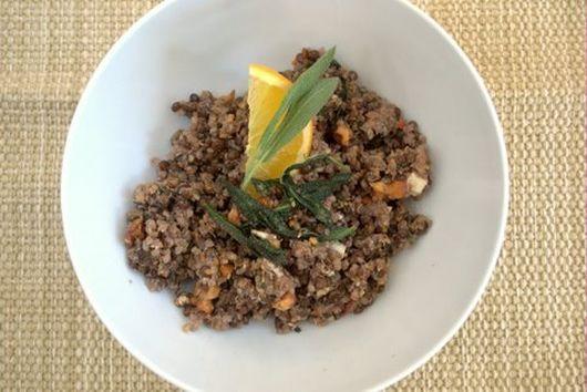 Walnut & Sage smothered lentil quinoa Pilaf