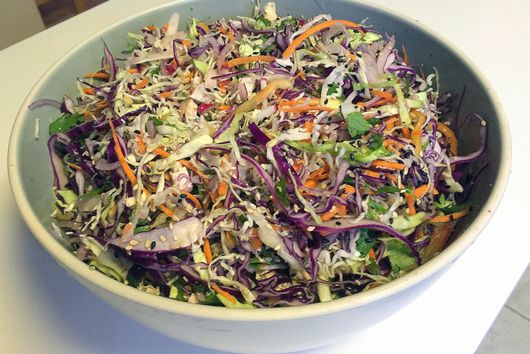 Asian-style Cabbage Slaw w/Tofu and Crunchy Ramen
