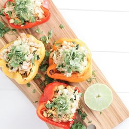 Goat Cheese and Chicken Stuffed Peppers