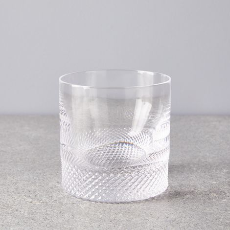 Hand-Etched Diamond Cut Crystal Whiskey Glass