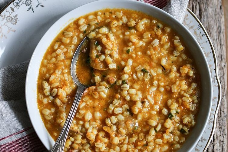 Pumpkin, porcini mushroom and barley soup