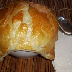 Shrimp soup with puff pastry