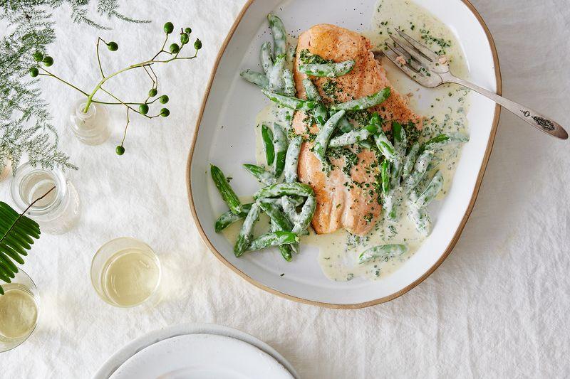 Salmon Fillet with Snap Peas & Lemony Crème Fraîche Dressing