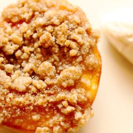 Peaches with Cardamom Streusel & Honey-Vanilla Cream