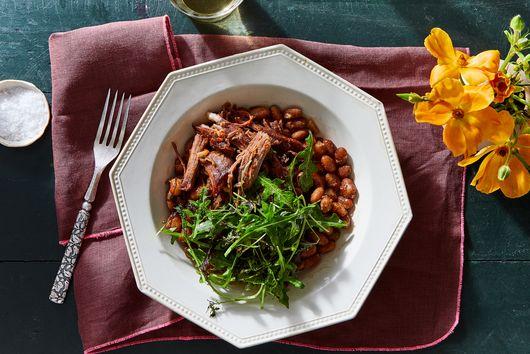 Harissa Lamb, Beans & Garlicky Greens