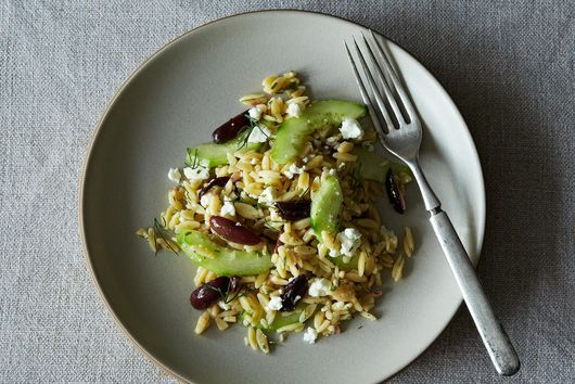 Lemon-Dill Orzo Pasta Salad With Cucumbers, Olives & Feta