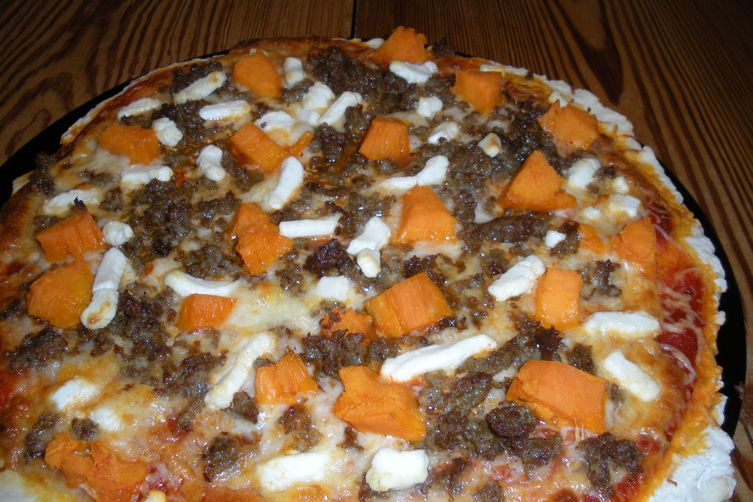 Sausage and Sweet Potato Pizza with Goat Cheese