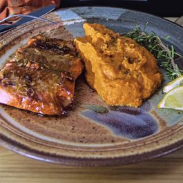 Honey Ginger Glazed Salmon with Chinese Five Spice Mashed Yams