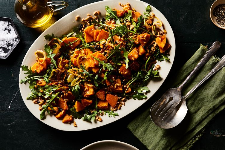 Roasted Butternut Squash & Toasted Farro Salad with Curried Brown Butter