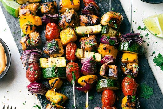 Orange Ginger Chicken Veggie Kebabs