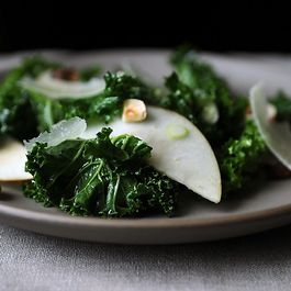 Caramelized Onion Pudding + Kale Salad with Apples