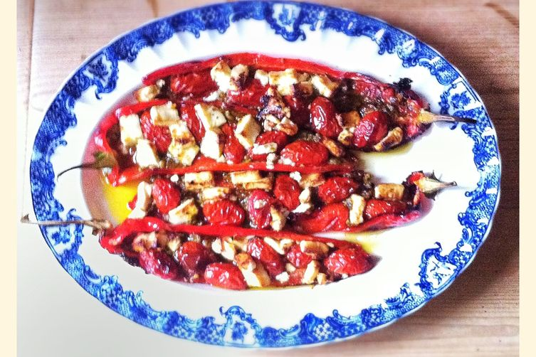 Sweet Red Peppers with Feta and Pesto