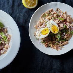 White Bean and Tuna Salad with Hard Boiled Eggs and Dukkah