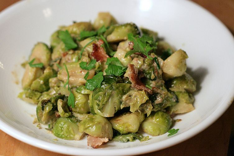 Brussels Sprouts Braised in Cream with Bacon