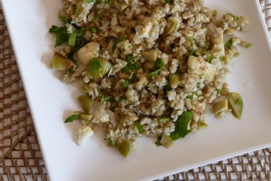 Freekeh Salad with Roasted Cauliflower and Green Olives