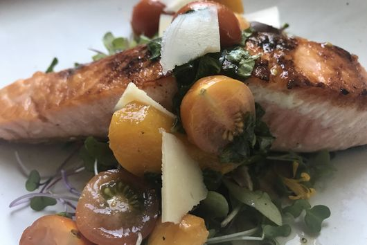 Salmon with Stone Fruit and Parmesan Salad
