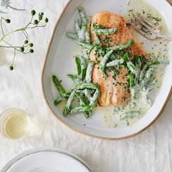 Salmon Fillet with Snap Peas & Lemony Crème Fraîche Dressing