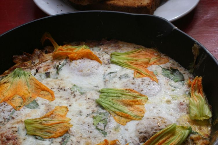 Squash Blossoms Over Baked Eggs