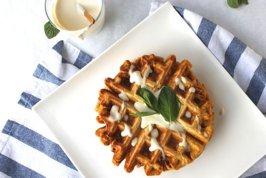 Butternut Squash Waffles and Bourbon-Maple Creme Fraiche