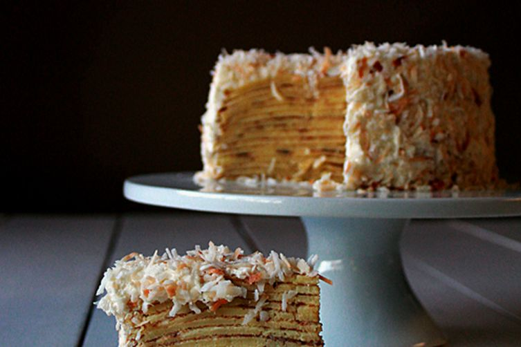 Coconut crepe cake with whipped cream frosting