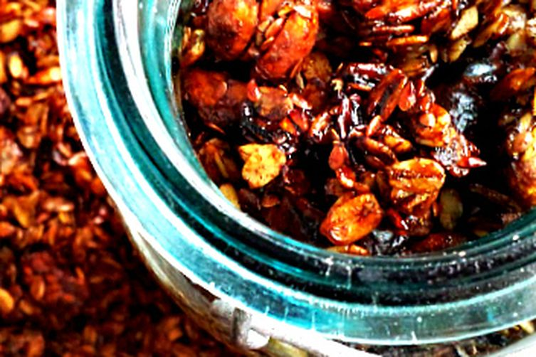 Slow Cooker Granola with Spicy Molasses Glazed Nuts