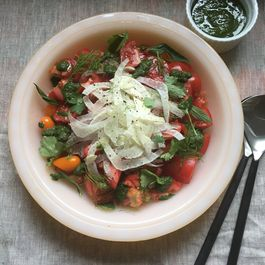 Tomato Fennel Salad with Green Sauce